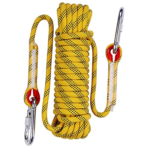 Aoneky 10 mm Static Outdoor Rock Climbing Rope, Fire Escape Safety Rappelling Rope (Yellow 2, 65)