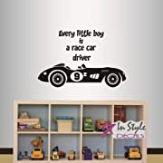 Wall Vinyl Decal Home Decor Art Sticker Every Little Boy is a Race Car Driver Phrase Quote Lettering Retro Sport Racing Car Boy Nursery Room Removable Stylish Mural Unique Design 549