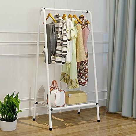 Coat Rack Hanger Floor Rack Simple Modern Bedroom Clothes Rack Metal Racks ,White