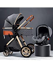 DUWEN Folding Portable Stroller, Stroller, Compact and Lightweight Fully Reclining Baby to Carrycot, Accessories, Rain Cover, Footmuff, for Newborn, from Birth to 3 Years, Black (Color : Grey)