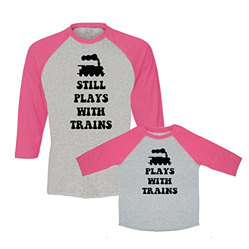 H6 Bib (We Match! Plays With Trains & Still Plays With Trains Matching Adult Baseball T-Shirt & Child T-Shirt Set (Youth X-Large T-Shirt, Adult T-Shirt Medium, Hot Pink))