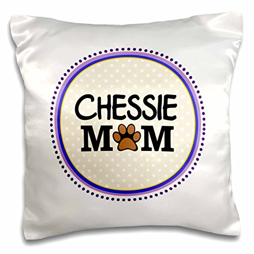 Print Mum (3dRose Chessie Dog Mom-Chesapeake Bay Retriever Love-Doggie Mama by Breed-Paw Print Mum-Doggy Lover-Pillow Case, 16 by 16