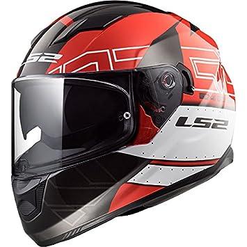 LS2 FF320 Corriente EVO KUB Casco de Moto de Cara Completa Cascos Integrales - Rojo Negro