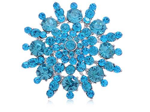 Ring Rhinestone Flower Fashion (Alilang Stunning Large Face Aqua Blue Crystal Rhinestone Snowflake Flower Fashion Ring)