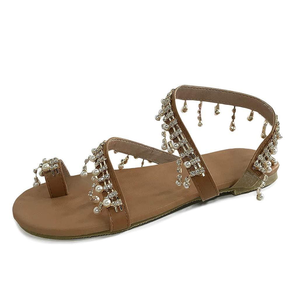 Damen Retro Flach Sandalen Sandaletten Zehentrenner Strandschuhe Schuhe Sommer J