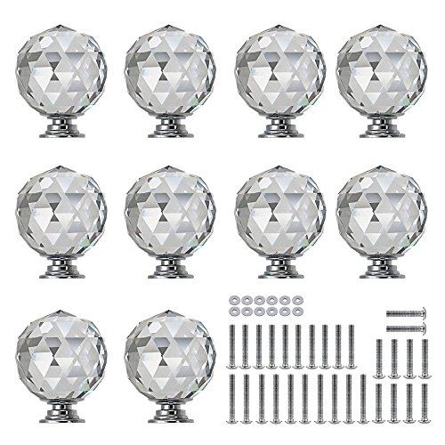 Sunmall 10 Pcs 30mm Round Diamond Crystal Cabinet Knobs Drawer Pull Handle Kitchen Door Wardrobe Hardware Used for Cabinet, Drawer,Dresser, Cupboard Come with 3 Kinds of ()