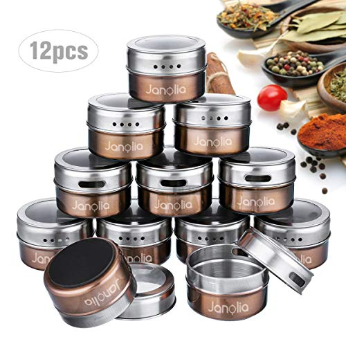 Janolia Spice Jars, Set of 12 Stainless Steel Magnetic Spice Containers, Round Spice Bottles with Twist Top, for Salt, Pepper (Brown with See-through Screen)