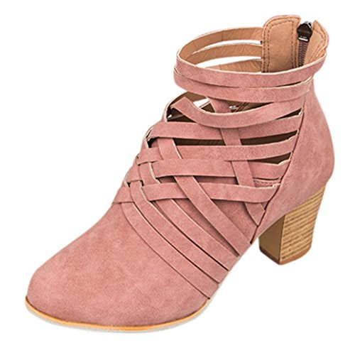 Sonnena Ladies Women Wedge Buckle Biker Ankle Trim High-Heeled Zip Ankle Boots Shoes Pink