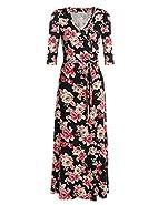 Elesol Women V Neck Wrap Tie Waist Maxi Dress 3/4 Sleeve Floral Dress