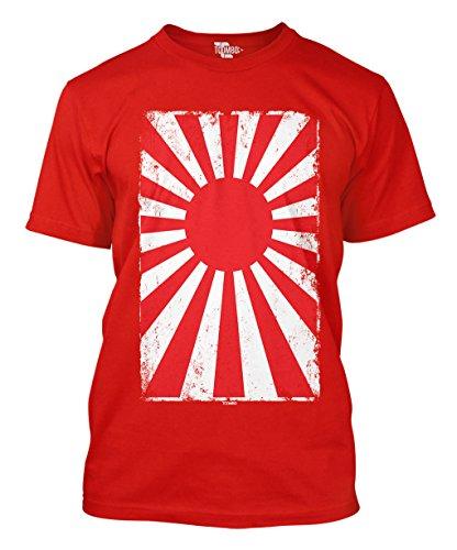 - Japan Rising Sun Flag Men's T-Shirt (Large, RED)