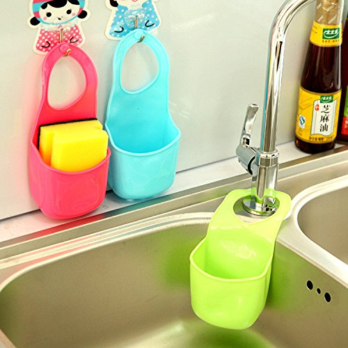 3pcs Kitchen Sink Bathroom Hanging Strainer Organizer Storage Sponge Holder Bag - 2