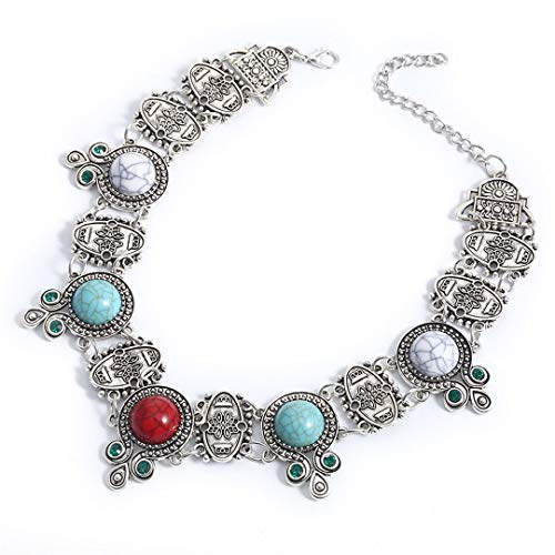 Women Trendy Multi-Color Metal Statement Necklace With Acrylic Stone For Women Jewelry KK075 as picture