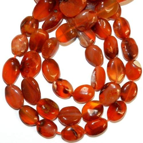 - NG2991 Red Carnelian 10mm - 17mm Puffed Flat Oval Agate Gemstone Beads 12'' Crafting Key Chain Bracelet Necklace Jewelry Accessories Pendants