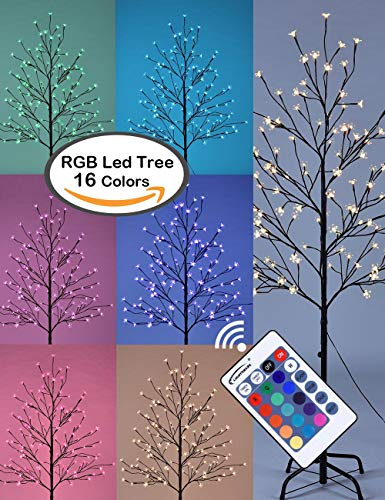 LIGHTSHARE Cherry Blossom Lighted Tree 5 Feet, RGB with Remote Control, 16 Color-Changing Modes (Christmas Tree Artificial Red)