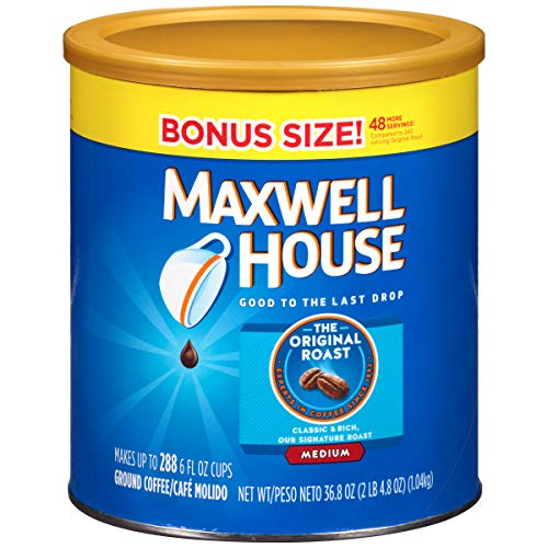 Maxwell House Ground Coffee Canister, Original Roast, 36.8 Ounce,Pack of 1