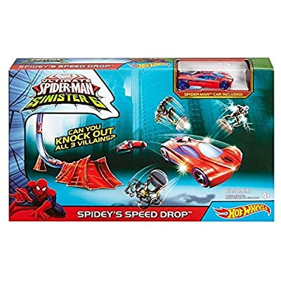 Hot Wheels Spider-Man Sinisters6 Spidey's Speed Drop: Toys & Games