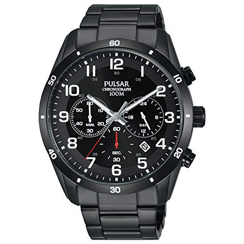 Pulsar Men's 43mm Black IP Steel Bracelet & Case Quartz Analog Watch PT3831