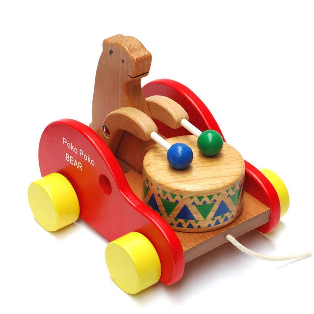 Gobus en Bois Coloré Tirer Le Long de l'ours De Voiture Drumming Bear Dragging Jouet Creative Blocks Puzzle pour Bébé Tout-Petits Enfants