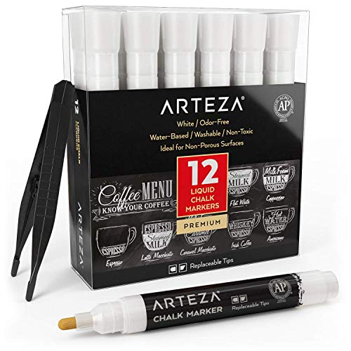 - ARTEZA Liquid Chalk Markers Set of 12 (White Color, 12 Replaceable Chisel Tips, 1 pc Tweezers) - Washable - Water-Based - White Liquid Chalkboard Markers