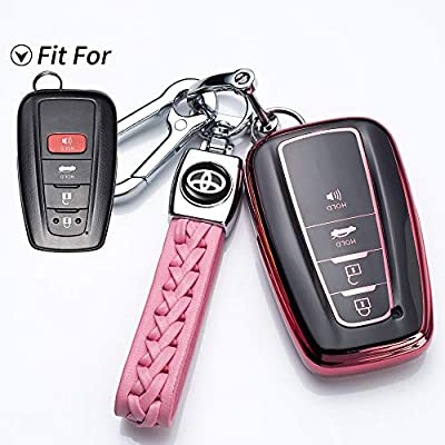121Fruit Way for Toyota Key Fob Cover Premium Soft TPU 360 Degree Protection Key Case Compatible with 2020 2020 2020 Toyota Camry RAV4 Avalon C-HR Prius Corolla Smart Key(only for Keyless go)-Pink: Automotive