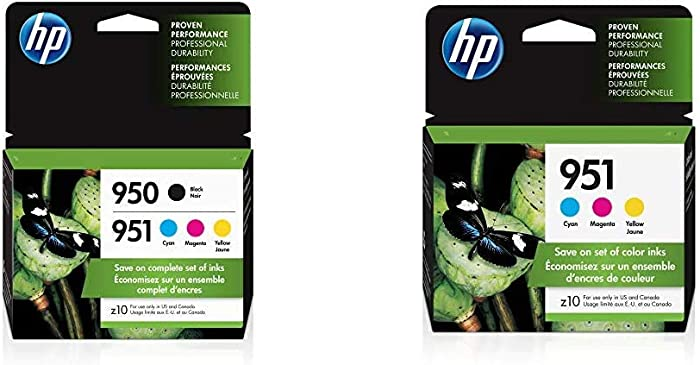 HP 950 & 951 | 4 Ink Cartridges | Black, Cyan, Magenta, Yellow | CN049AN, CN050AN, CN051AN, CN052AN & 951 | 3 Ink Cartridges | Cyan, Magenta, Yellow | CN050AN, CN051AN, CN052AN