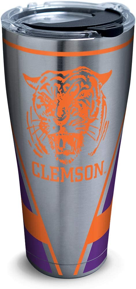 Tervis Clemson Tigers Vault Stainless Steel Insulated Tumbler with Clear and Black Hammer Lid, 30oz, Silver