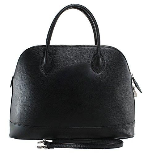 Made 100 40x30x15cm Negro mujeres las genuino in clásicas elegante de bolsa cuero CTM Italy qtwvHx1p