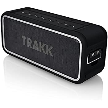 TRAKK GO 20W Indoor/Outdoor IP67 Waterproof Dustproof Shockproof Portable Wireless Bluetooth Speaker MaxBass Technology 4400mAh Battery Pack for USB Devices Use in Shower, Beach, Office, Home- Black