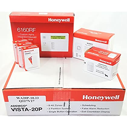 Image of Honeywell Vista 20P Wireless Kit with a 6160RF Keypad, One 5800PIR-Res Motion Sensor, Three 5800MINI Door/Window Contacts, and a WAVE2 Siren