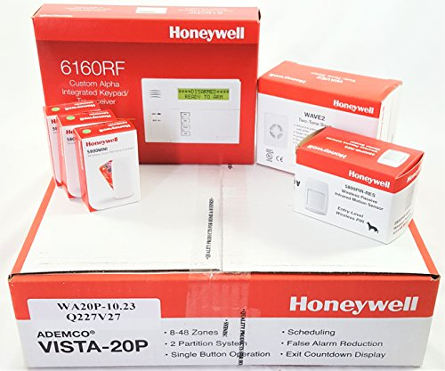 Honeywell Vista 20P Wireless Kit with a 6160RF Keypad, One 5800PIR-Res Motion Sensor, Three 5800MINI Door/Window Contacts, and a WAVE2 Siren