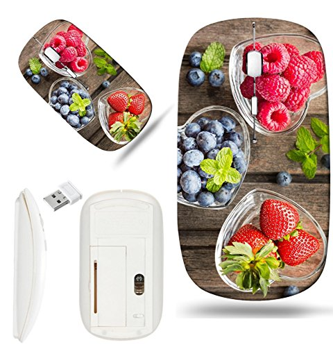 (Luxlady Wireless Mouse White Base Travel 2.4G Wireless Mice with USB Receiver, 1000 DPI for notebook, pc, laptop, mac design IMAGE ID: 41294551 Mix of fresh berries in three glass ramekins in shape of)