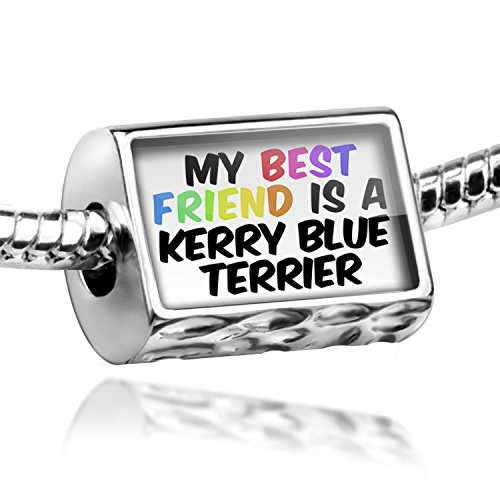 Blue Charm Dog Terrier Kerry (Charm My best Friend a Kerry Blue Terrier Dog from Ireland - Bead Fit All Europ)