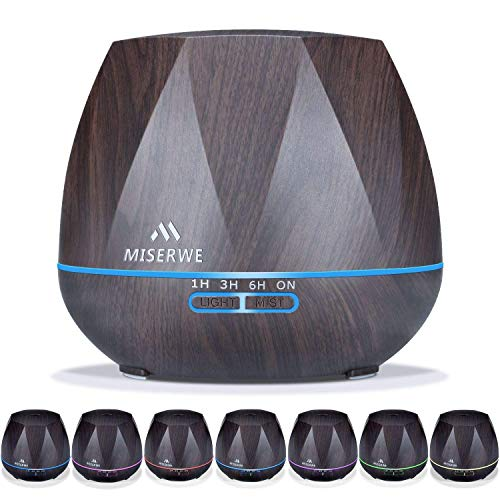 Miserwe Diffuser 550ML Adjustable Essential Oil Diffuser for Home Yoga Office Spa Waterless Auto Shut-off Diffuser for Essential Oils with 4 Timer Setting 7 LED light