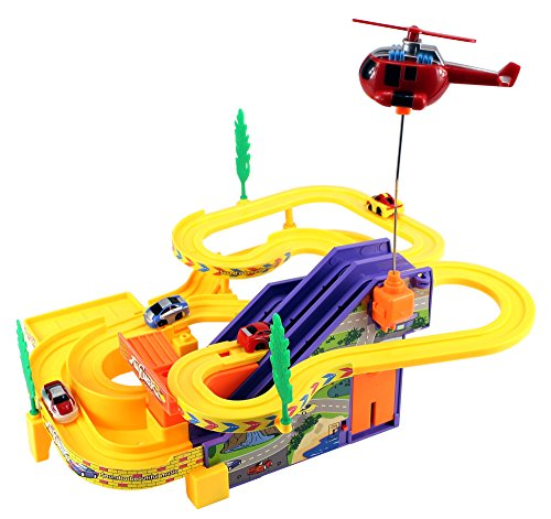Toy Vehicle Playsets Track Racer Car & Helicopter Children's Kid's Battery Operated
