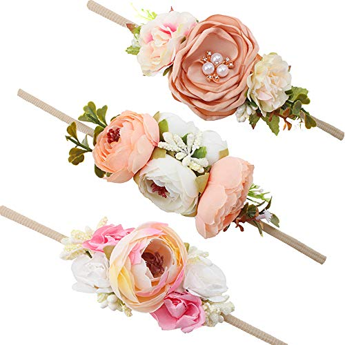 Baby Girl Floral Headbands Set - 3pcs Flower Crown Newborn Toddler Hair Accessories by mligril, Pastel Peach, -