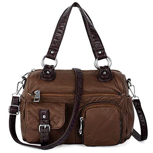 [UTO Women Handbag Medium Purse PU Washed Leather Blet Pocket Shoulder Bag Coffee] (Sale On Purses)