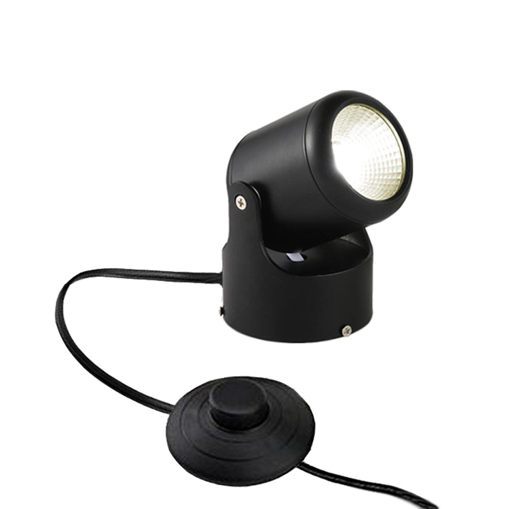 Kiven LED Accent Uplight w/Foot Switch, Handheld Sized Portable Spot Light, Black