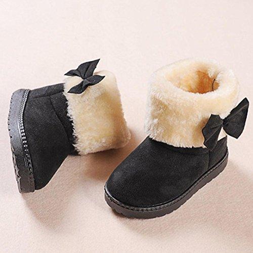 HUHU833 Kinder Mode Mädchen Baby Stiefel, Warme Watte Gepolsterten Schuhe Bowknot Schnee Stiefel Warm Schuhe Schwarz