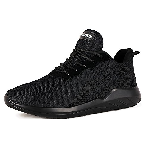 Leader show Men's High Top Breathable Running Shoes, Fashion Sport Athietic Sneaker (9.5, Black)