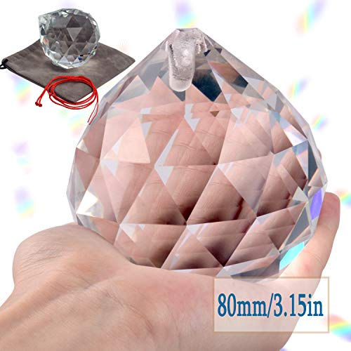 Lulonpon 80mm/3.15 Inch Clear Crystal Suncatcher Prisms,Hanging Prisms Ball Rainbow Glass Sphere,Hanging Crystals Gazing Ball for Windows Home Décor,Garden Decoration,Super Sparkly and Flawless (Balls Hanging Garden)