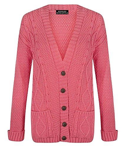in nonno maglia lunghe donna dimensioni lungo a maniche donna 8 pulsante Da Look da lavorato Glossy Cardigan Coral 22 a cavo wX6qYZTTvx