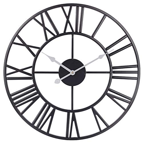 Decorative Wall Clock, European Retro Black Metal Clock with Large Roman Numerals, Silent Battery Operated Indoor Home Clock for, Living, Dining, Bedroom, Kitchen & Den - 18 Inch, White Hands (White Wall Vintage Clock)