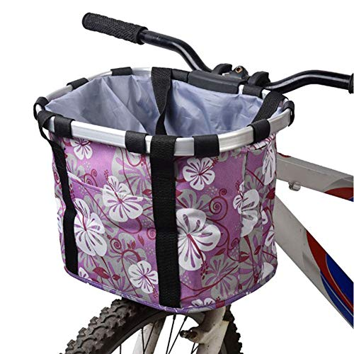 RANRANHOME Bicycle Front Basket Folding Removable Bike Handlebar Basket Pet Cat Dog Carrier Frame Bag Quick Release, Load-Bearing 10KG,Purple