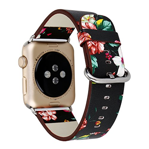 Black Watch Wristbands (Rykimte Watch band Flower Leather Breathable Band Sport Style Replacement Strap Wristband with Adjustable Buckle Quick Release For Apple Watch iWatch ( Flower Black A 42mm ))