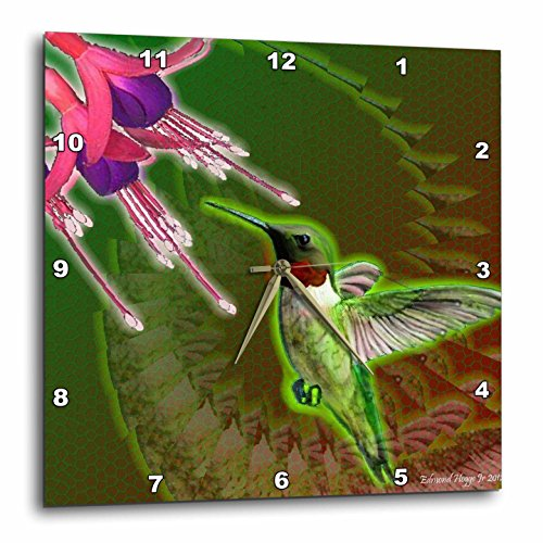 3dRose dpp_50331_1 Ruby Red Hummingbird and Fuchsia Flower Wall Clock, 10 by ()