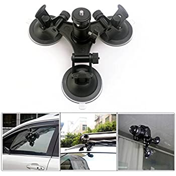 """CEARI Car Windshield Triple Vacuum Suction Cup with Ball Head Tripod 1/4"""" Mount for Gopro HERO 3 3+ 4 Action Camera Digital SLR Camera Camcorder Mount + MicroFiber Clean Cloth"""