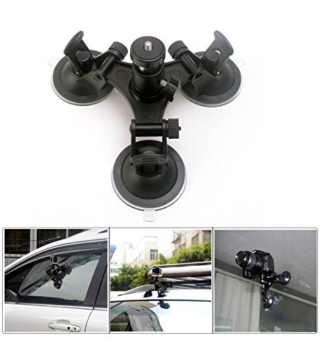 CEARI Car Windshield Triple Vacuum Suction Cup with Ball Hea