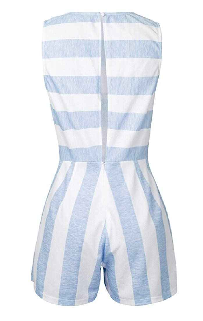 shinianlaile Womens Summer Boho Sleeveless Striped Beach Short Rompers Jumpsuit