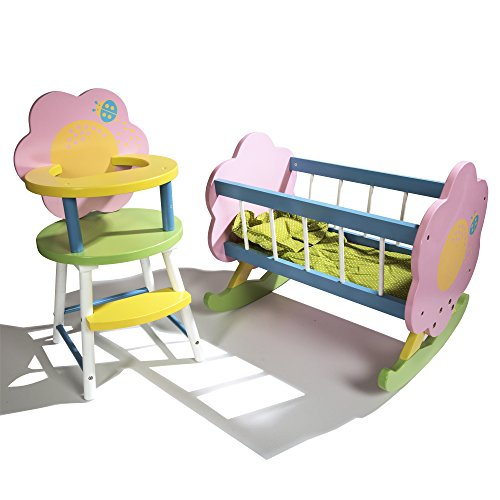 Amazon Com Cp Toys Wooden Doll Cradle High Chair For 12 To 15
