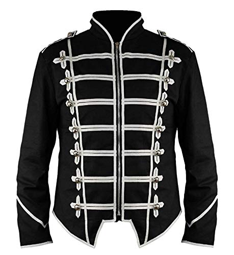 Ro Rox Steampunk Military Drummer Emo MCR Punk Gothic Parade Jacket - Black (M) -
